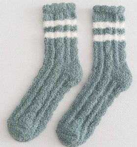 Green Fluffy Lounge Socks with Contrast Stripes