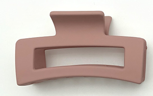 Pink Plastic Coated Rectangle Hairclaw