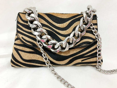 Zebra bag with front Chain and Chain Strap