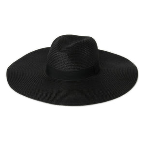 Black Wide Brim Straw Fedora Hat