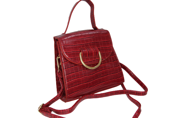 Red Croc PU Bag With Ring Detail