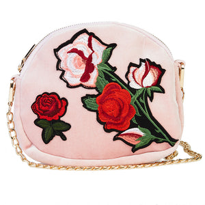 Velvet Shoulder Bag with Embroidered Flowers