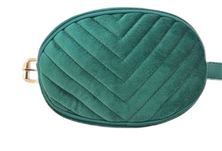 Green Velvet Oval Quilted Belt Bag