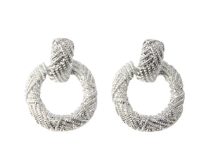 Silver Textured Circle Drop Earrings