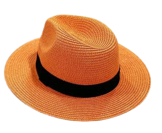 Orange Straw Fedora with Poly Band