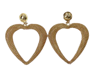 Gold Mesh Heart Earrings