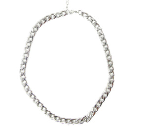 Silver Necklace With Chain Link