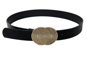Textured Linked Circles Statement Buckle Black PU Belt
