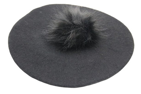 Wool Felt Beret with Faux Fur Pom