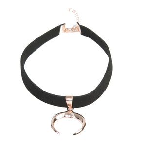 Suede Choker with Bull Horn