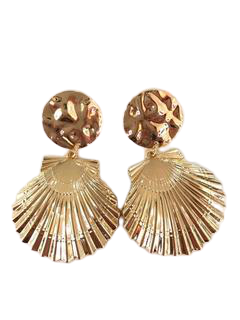 Gold Metallic Shell Earrings