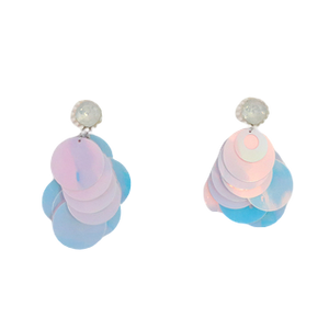 White Holographic Sequin Discs Earrings