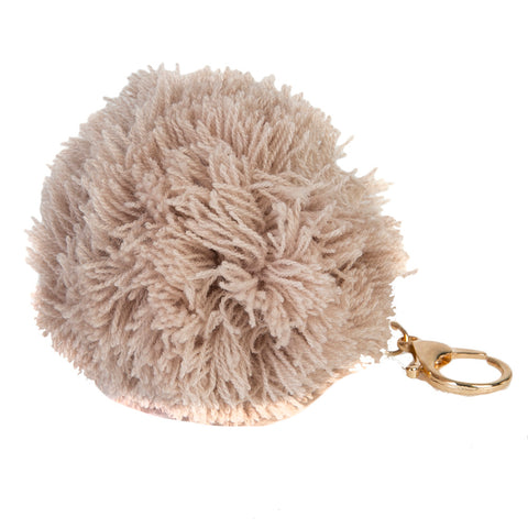 Brown Knitted Pom Pom Key Ring