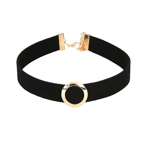 Suede Choker with Metal Circle