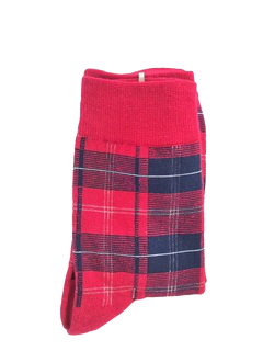 Red Tartan Print Fashion Socks