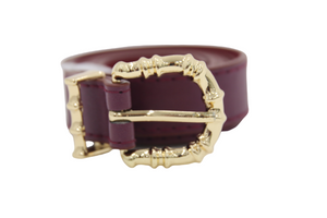 Wine PU Belt with Metal Bamboo Buckle