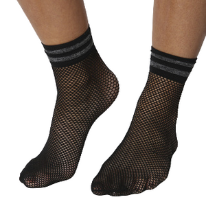 Black Fishnet Socks With Glitter Band