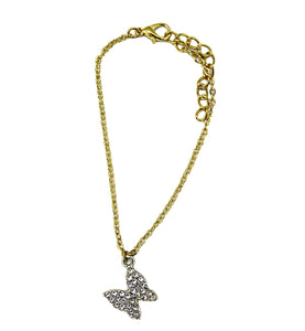 Diamante Butterfly Detail Anklet
