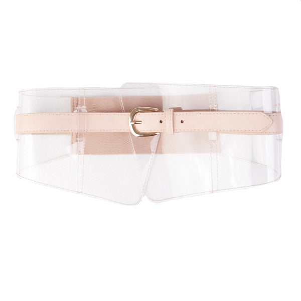 Elasticated Corset Inspired Belt w/ Thin PU Belt & Clear Panel