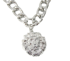 Silver lion pendant Chunky chain necklace