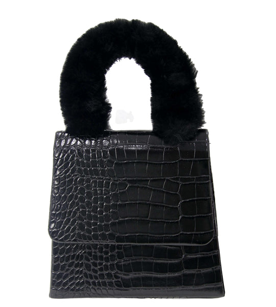 Croc Grab Bag with Fur Handle