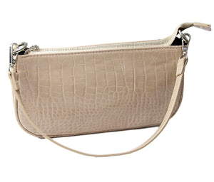 Nude PU Croc Shoulder Bag