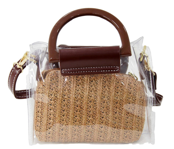 Tan Straw and Clear Bag with Brown Handle