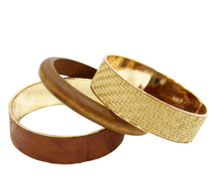 Wooden and Straw Style Bangle Set