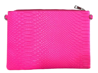 Neon Pink Snake Print Cross body Bag with Chain Strap