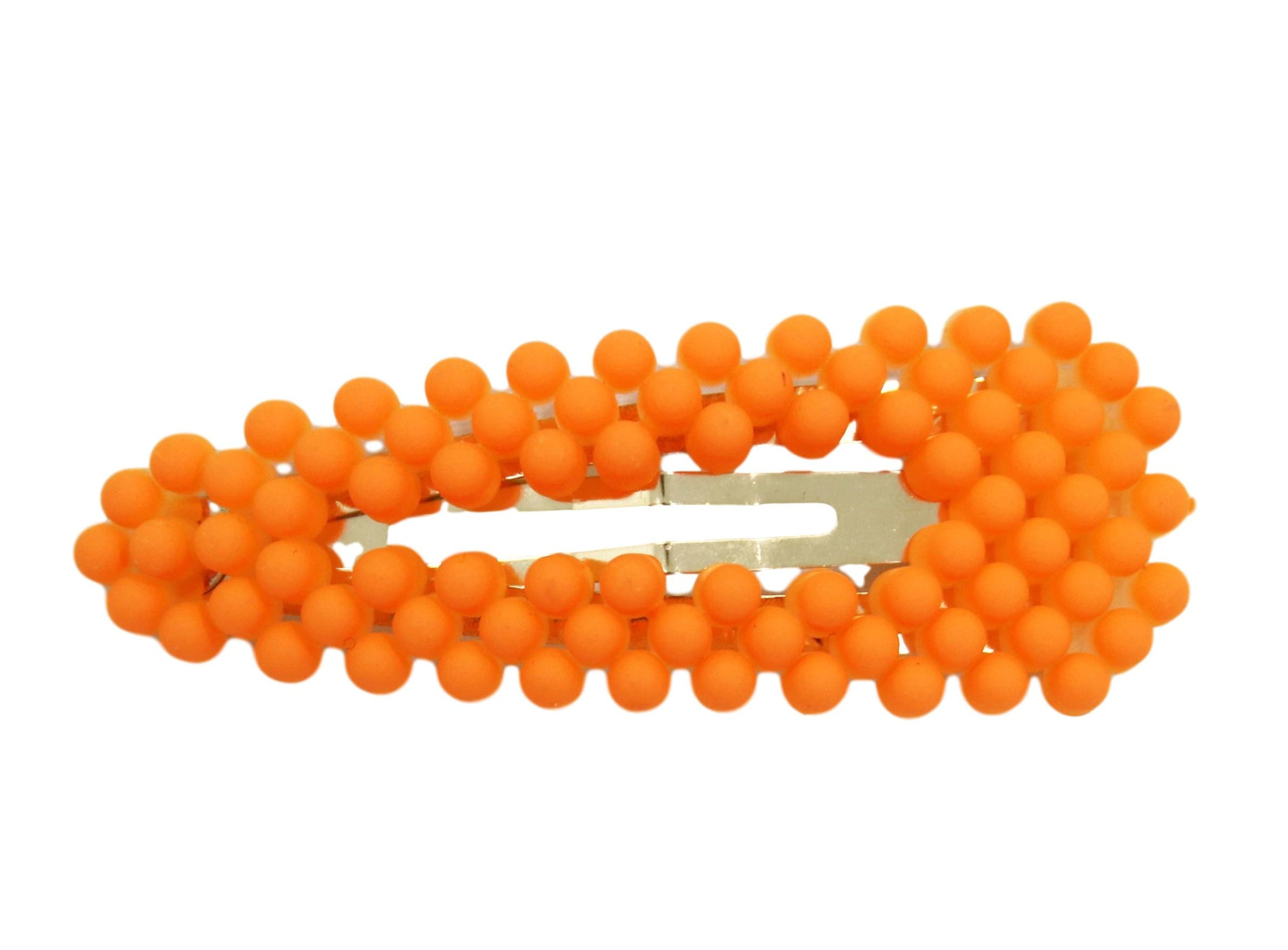 Neon Orange Beaded Hairclip