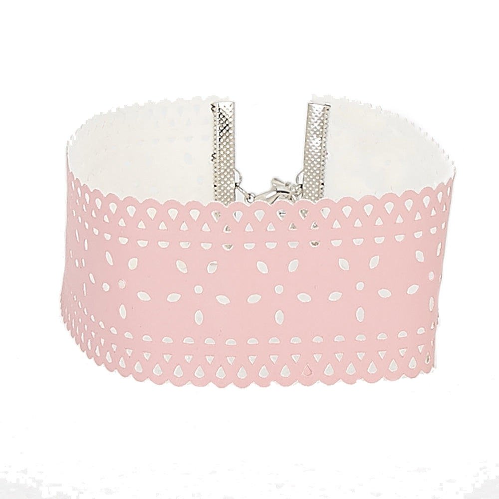 Light Pink PU Choker with Filigree Laser Cut Design