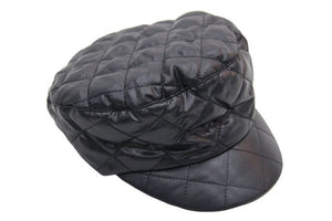 Black Quilted Baker Boy Hat