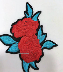 Double Rose with Blue Leaves Patch