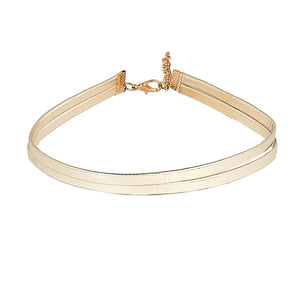 Gold 1cm PU double band choker