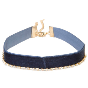 Navy Velvet & Diamante Choker Multi Pack