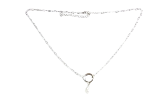 Silver Circle and Pearl Necklace
