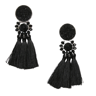 Black Art Deco Style Tassel Earrings