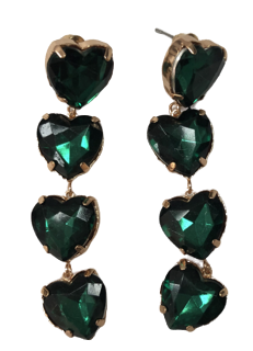 Emerald Heart Drop Earring