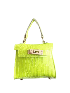 Neon Lime Croc Mini Bag with Chain