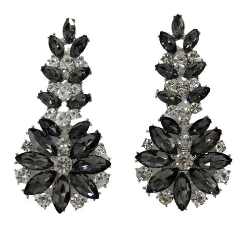 Grey Diamante Statement Earring
