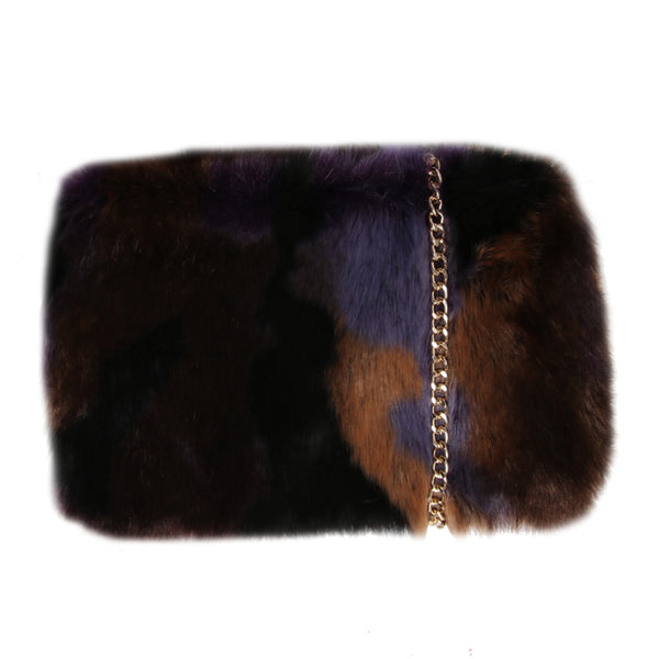 Brown and Purple Faux Fur Chain Bag