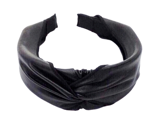 Black Pu Headband With Knot Detail