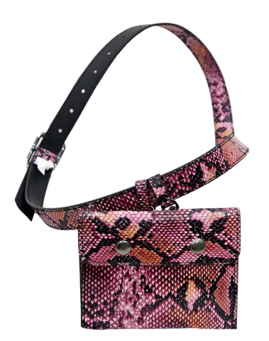 Fuchsia Snake Hanging Purse Belt
