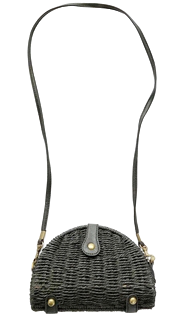 Black Semi Circle Straw Bag With Strap Pu