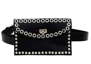 Black Eyelet PU Belt Bag