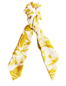 Mustard Print Long Scrunchie