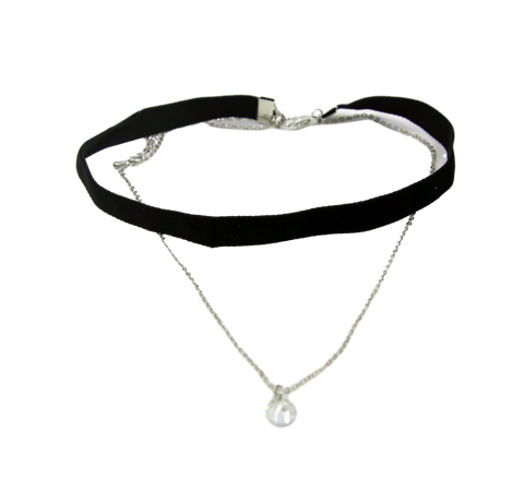 1cm Velvet Choker with Chain Crystal Drop Pendant