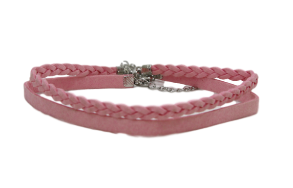 Pink 1.5cm Double Suede Choker with One Plaited Choker