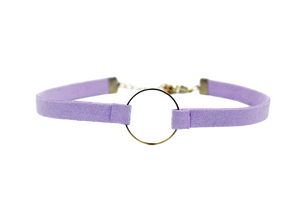Lilac Suedette choker with metal circle detail