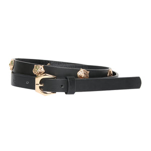 Black Lion Studded Faux Leather Belt